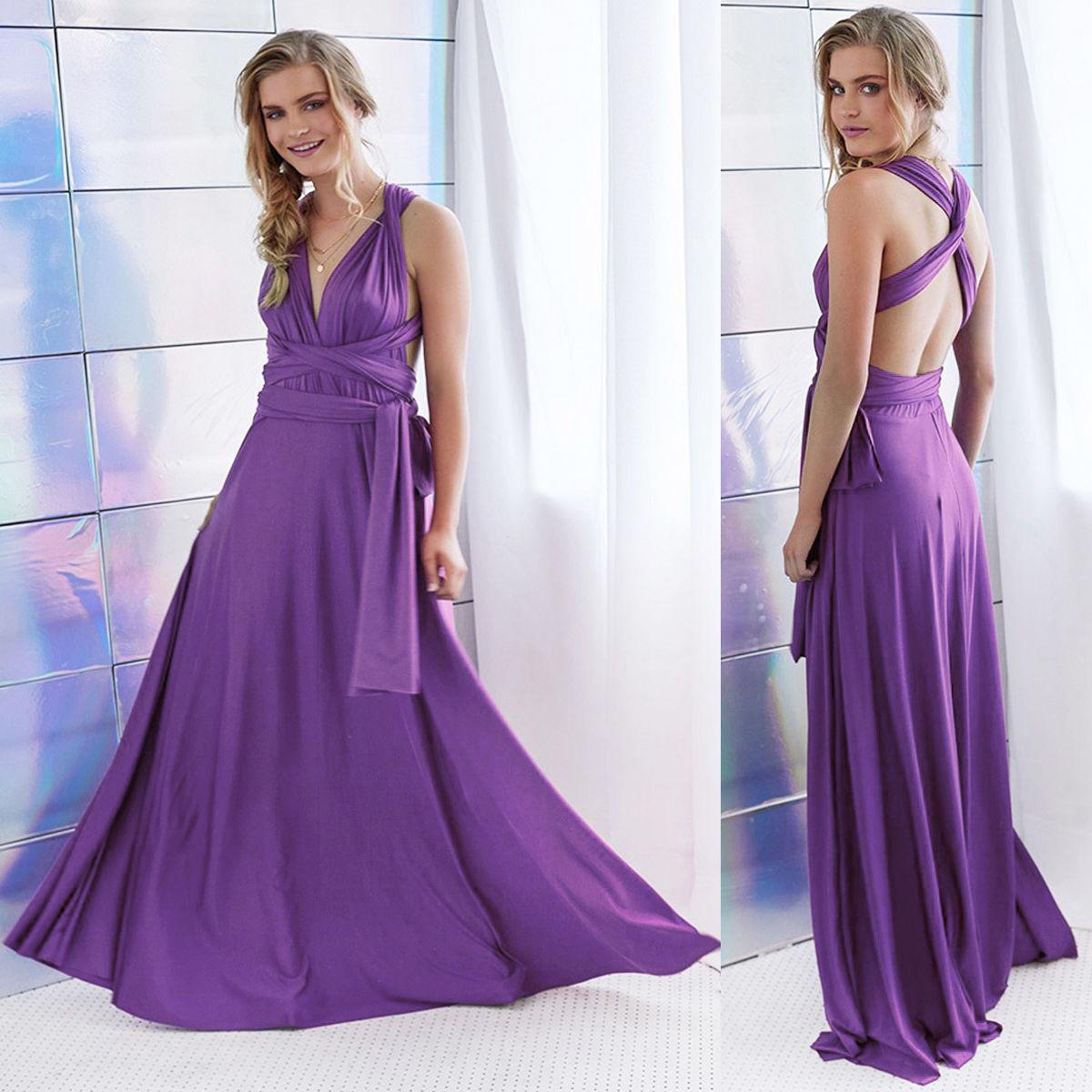 Women Long Evening Dress Convertible Multi Way Wrap Bridesmaid ...