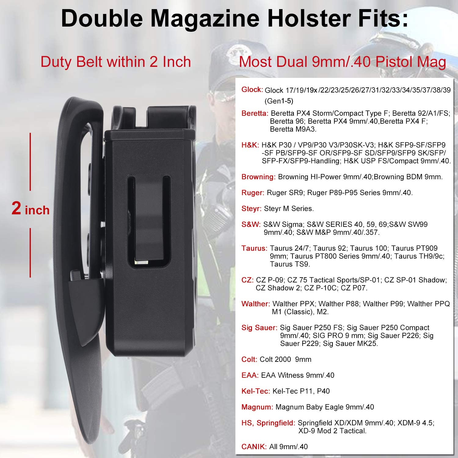 Details about Universal Magazine Holster Polymer Double Pouch 9mm / 40  Holder Dual Stack Mag
