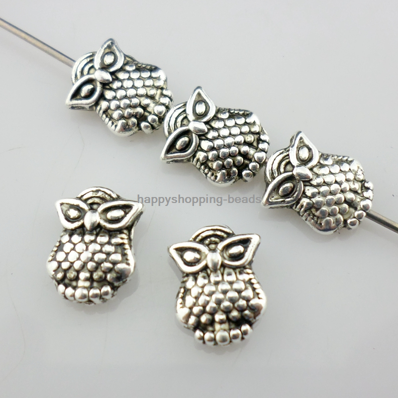 Owl Spacer Beads Jewelry Making Fit Bracelets Tibetan Silver 24//72pcs 3x8x10mm
