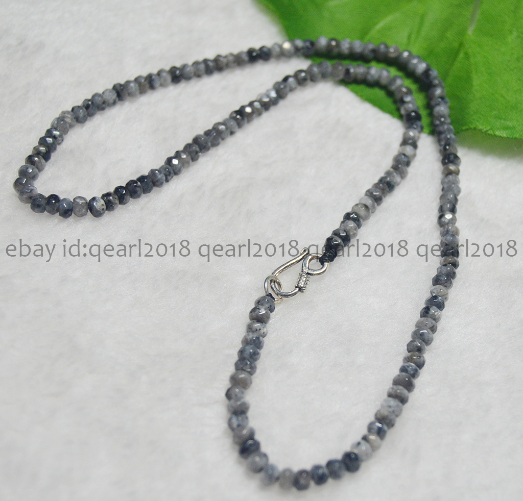 """2x4mm NATURAL Labradorite FACETED BEADS Necklaces 17-24/"""" Silver Clasp"""