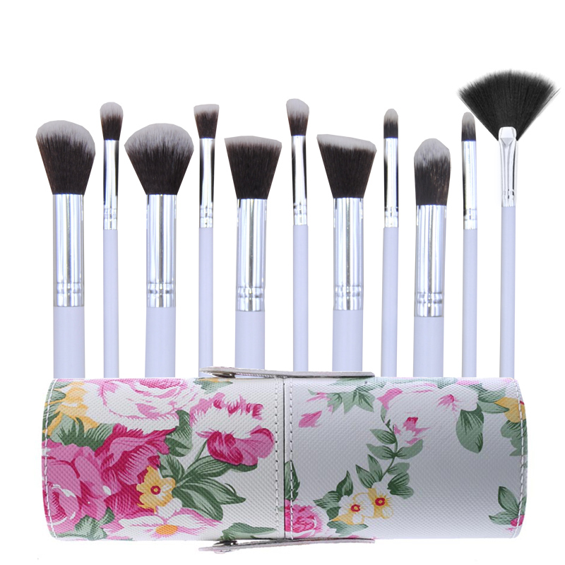 11pcs Pro Makeup Brushes Powder Foundation Cosmetic Tool Leather Cup