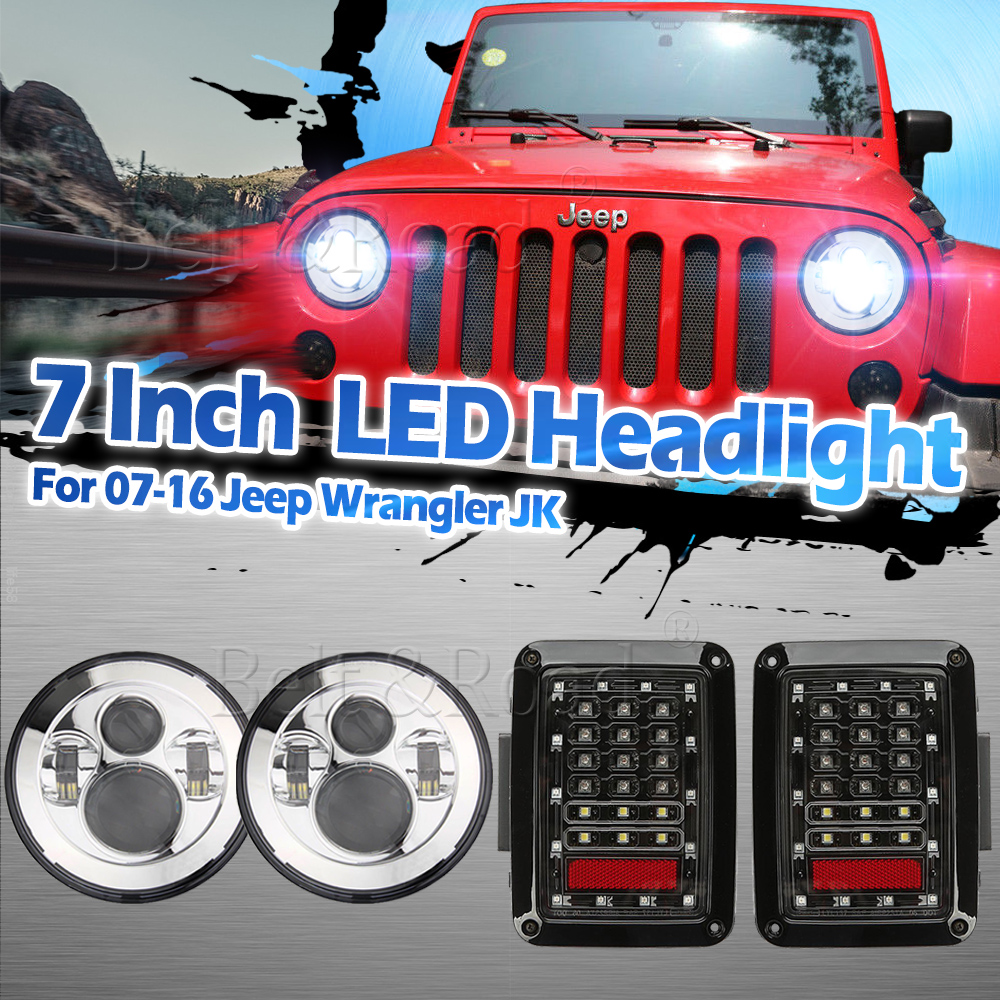 Details About Jeep Wrangler Jk Tj 7 Round Chrome Led Headlights Integrate Brake Tail Light