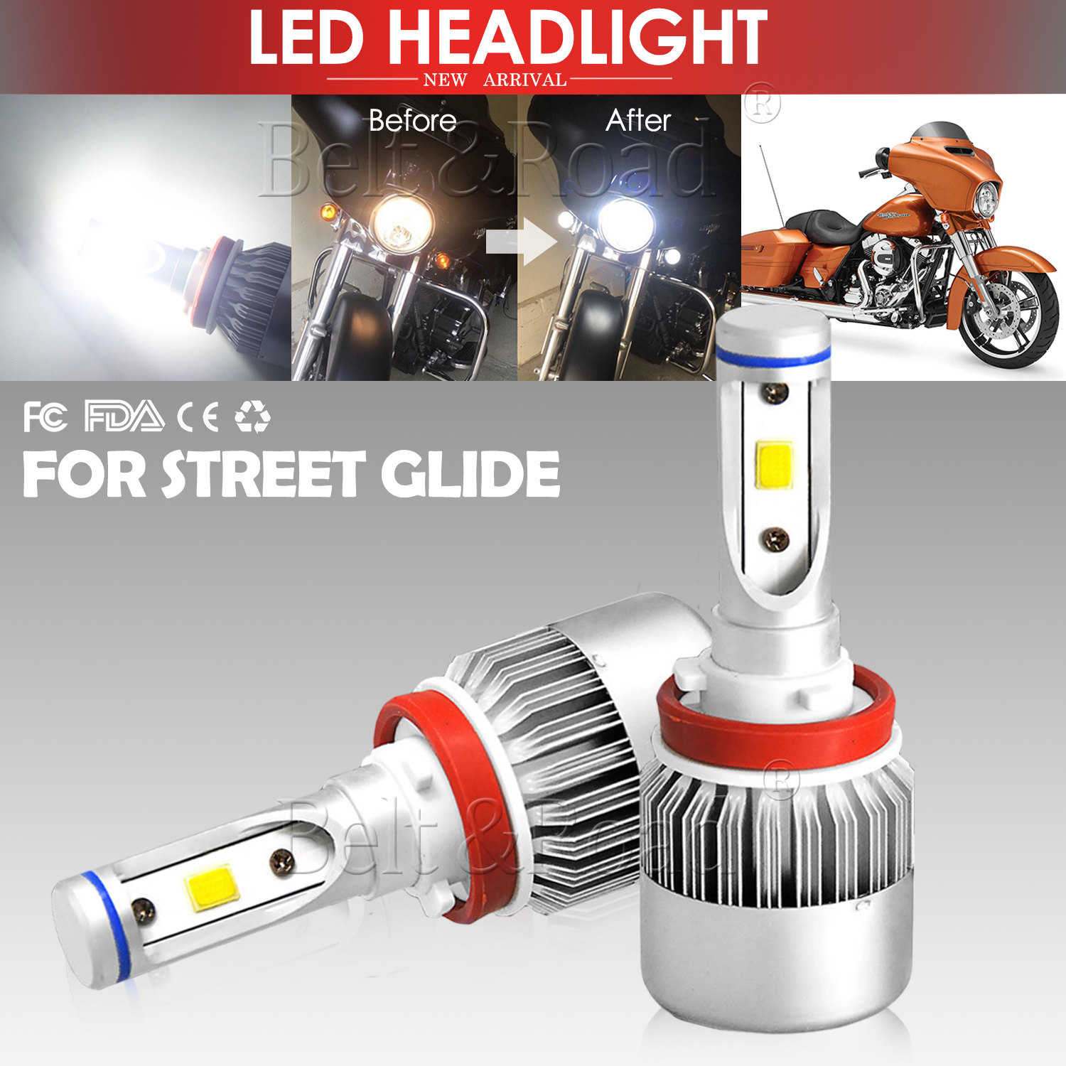 Harley Car Led Headlight Conversion Kit 6000k 7600lm White Super Bright Bulbs