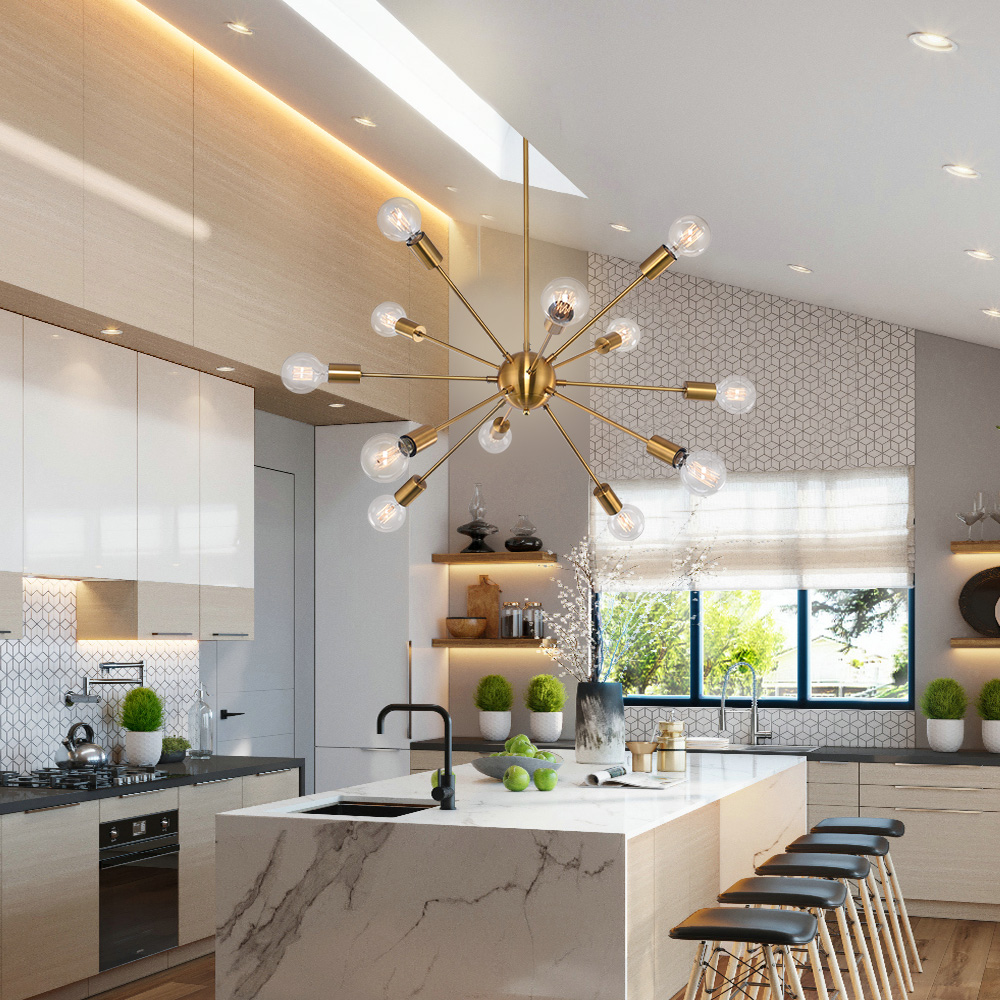 12 Lights Industrial Sputnik Chandelier Indoor Pendant Lighting Ceiling Fixtures Ebay
