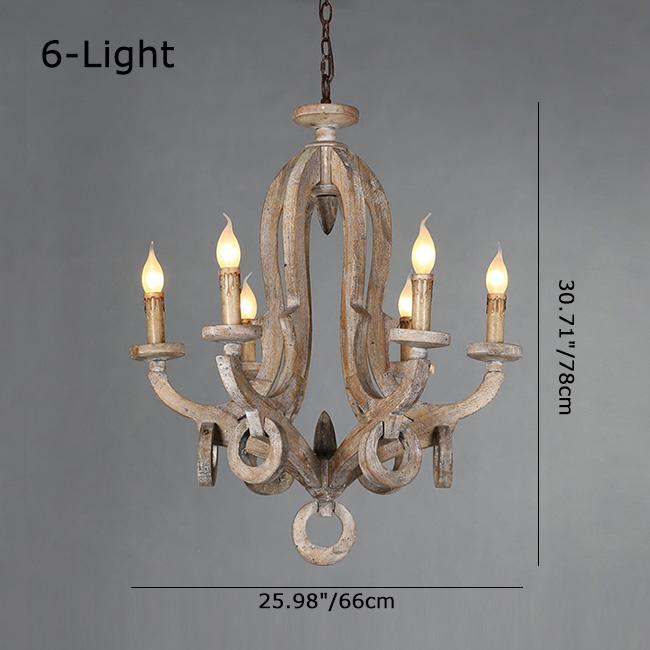 Rustic Wooden 6-Light Chandelier Classic Cottage Hanging Light Lighting Lamp