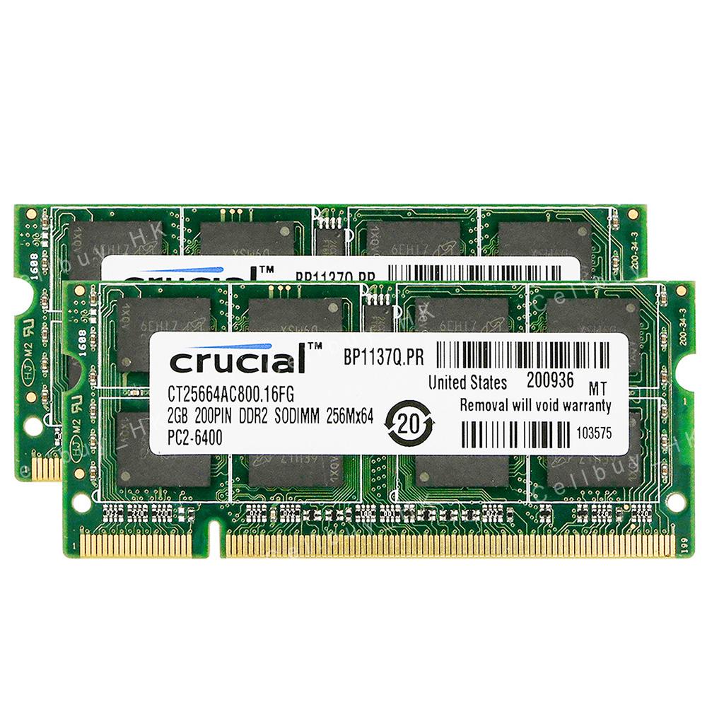 2pcs Crucial 2GB 2RX8 DDR2 800MHz PC2-6400S 200pin Sodimm RAM Laptop Memory @10H