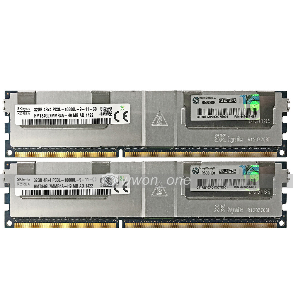 Samsung 64GB 2X32GB 4RX4 PC3L-10600R DDR3-1333Mhz CL9 240Pin ECC REG Server RAM
