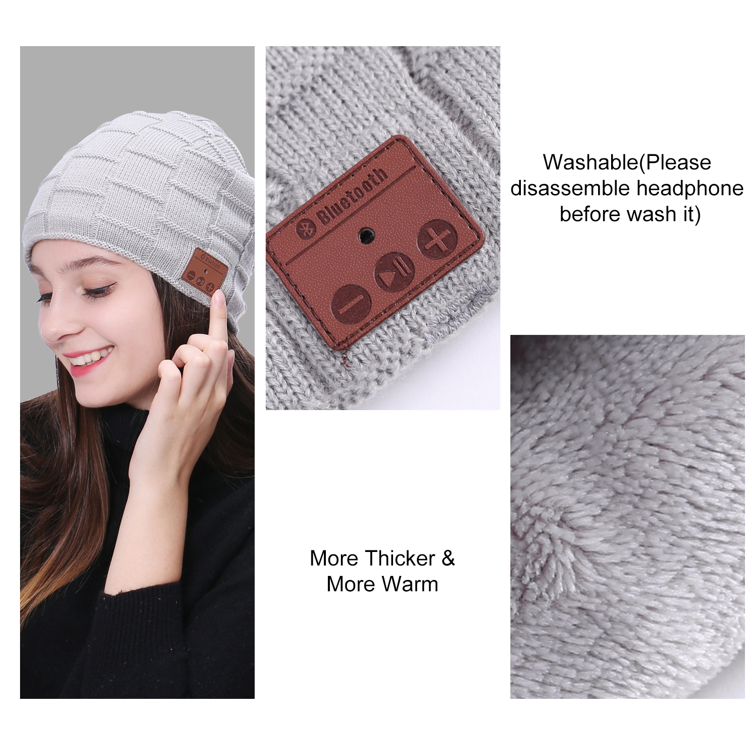 82e028bc672 Bluetooth Beanie Cap Baggy Warm Oversize Skull Winter Music Hat Headset  Headband
