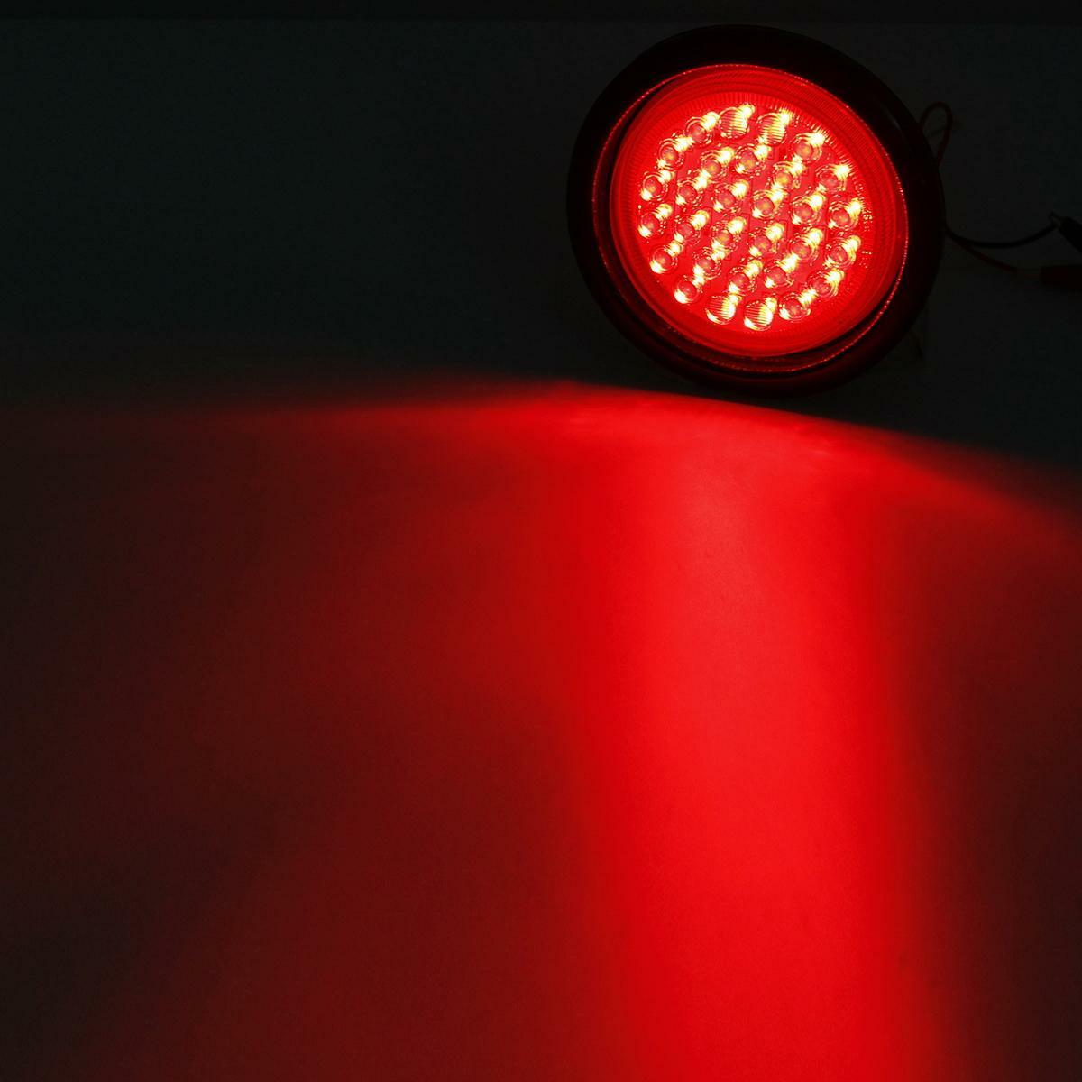 Red 4 U0026quot  Inch 30 Led Round Light Sealed Stop Turn Tail