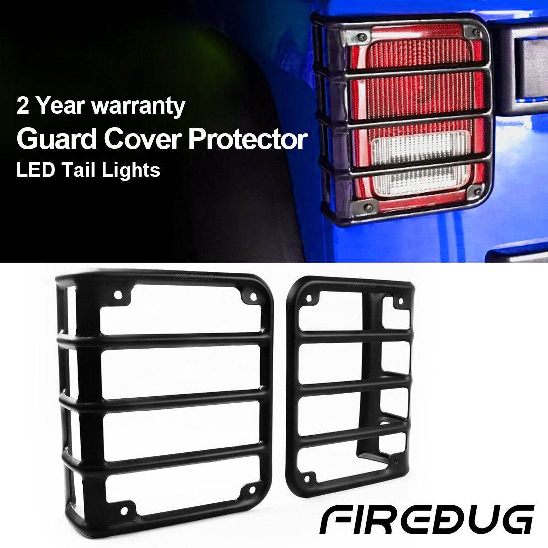 Firebug Jeep Taillight Covers, Jeep Tail Light Protectors, Jeep Light Cover