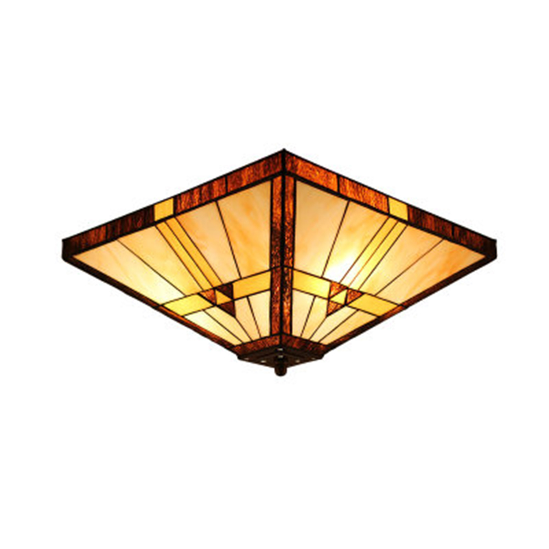 Tiffany Retro Mission Style Flush Mount Ceiling Light