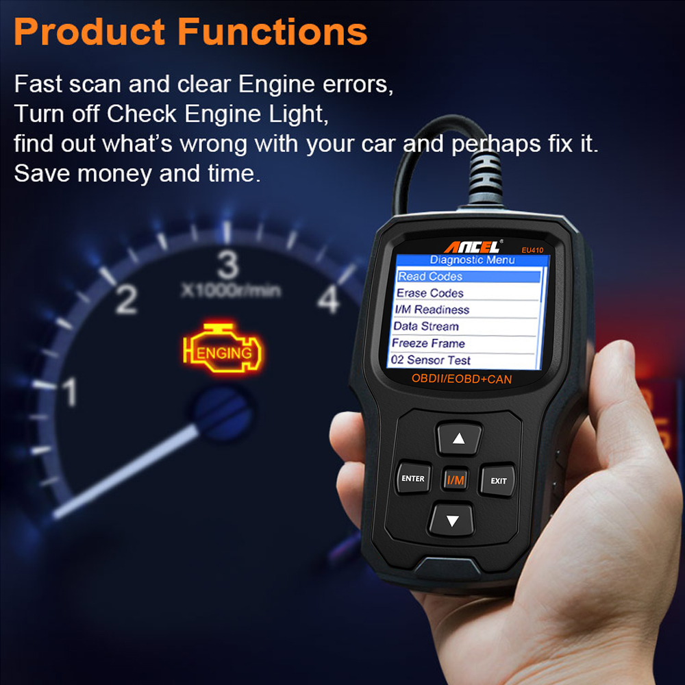 O2 Sensor Live Data: Auto Engine Check Diagnostic Tool OBD2 Scanner Car Read