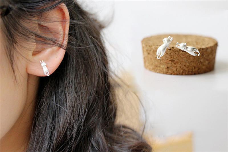 Cute Cats Pom Pom Earrings Ball Drop Dangle Ears Studs  Women Charm Jewelry BSCA