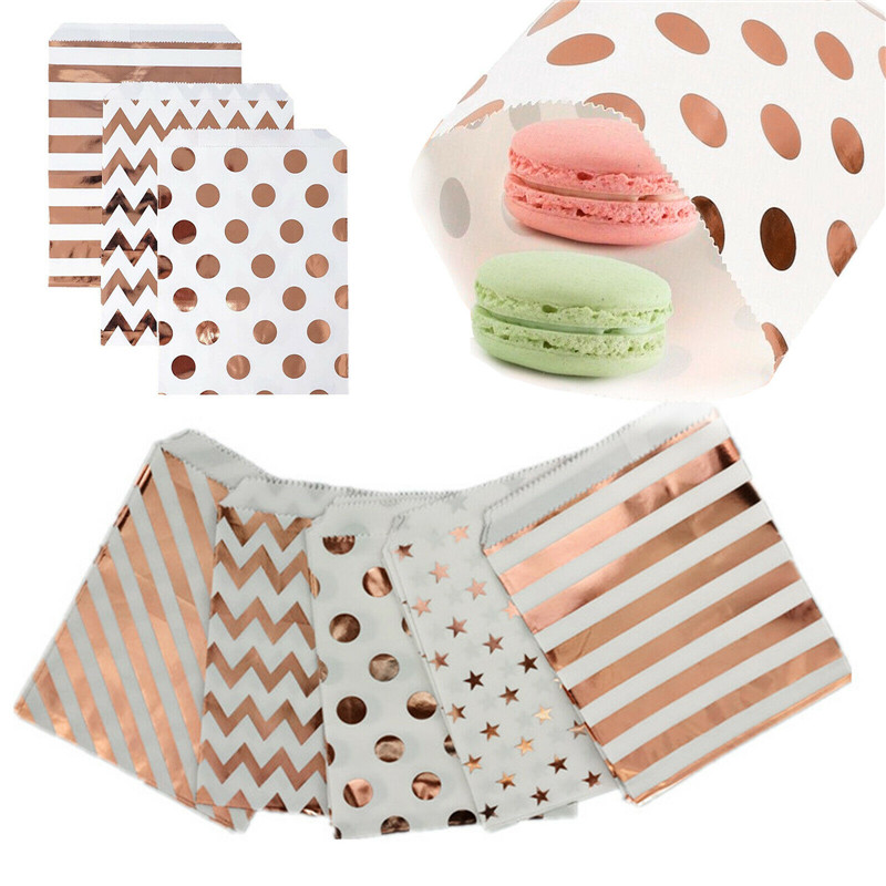 Foil Rose Gold Star Wave Stripe Spots Party Wedding Paper Favour Candy Gift Bags