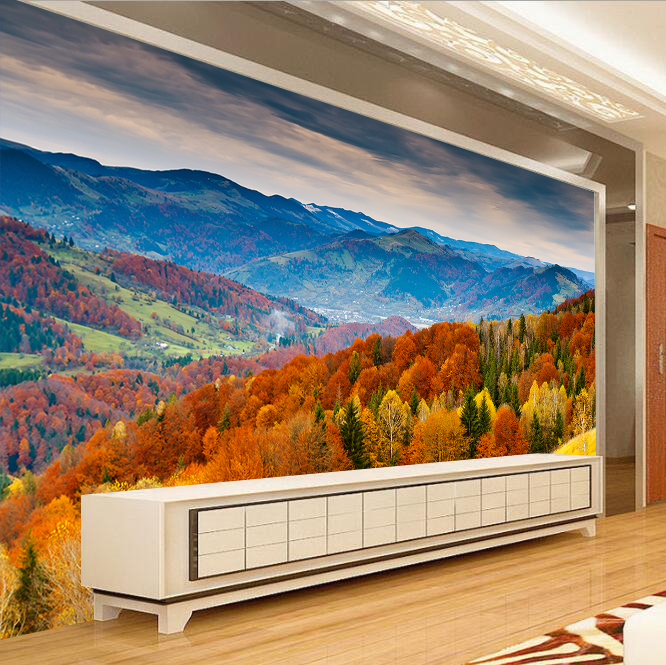 Details About 3d Autumn Forest Mountain Scenery Wallpaper Wall Painting Room Tv Background