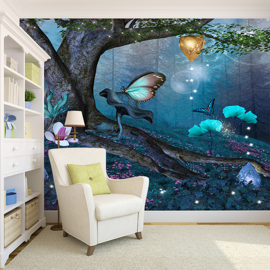 Details About Enchanted In Blue Forest Self Adhesive Living Room Wallpaper Wall Murals Decor
