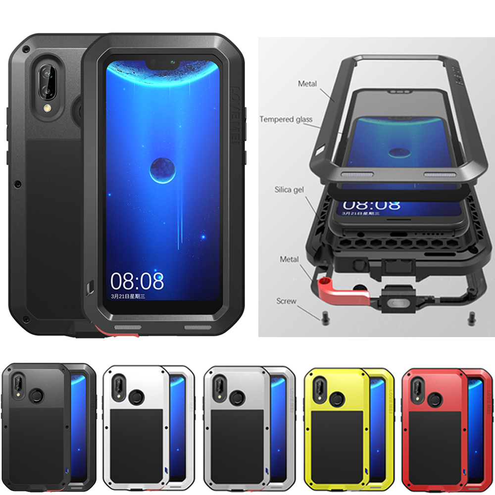 new style 92543 1162b Details about LOVE MEI Metal Glass Waterproof Case Cover Defender For  Huawei Nova 3e P20 Lite