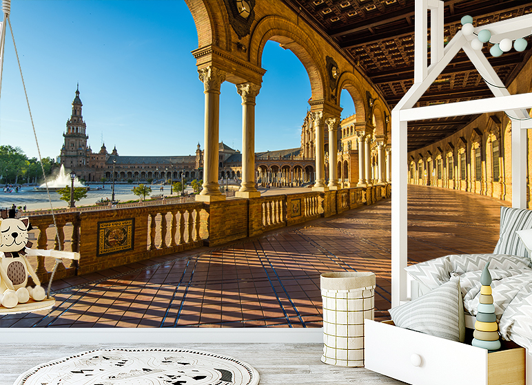 3d Spanish Building Self Adhesive Living Room Wallpaper European Style Murals Ebay