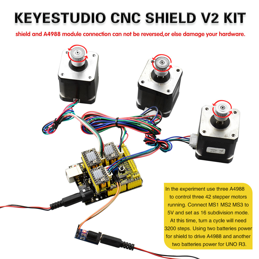 Cnc Shield V20 Uno R3 Board 3pcs A4988 Stepper Motor Driver Kit 4 Wire Wiring Harness For Arduino