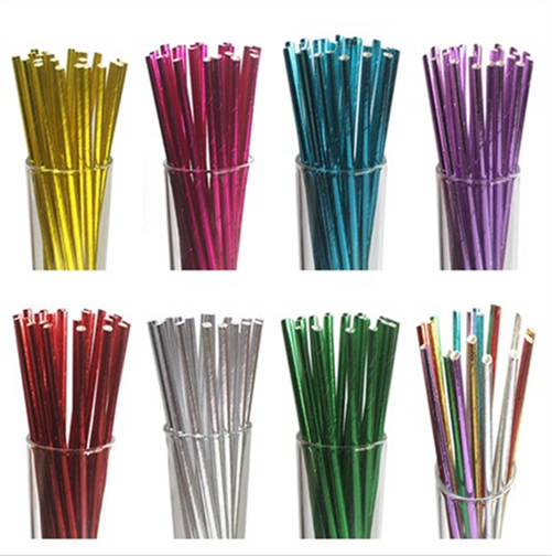 Mixed-25Pcs-Foil-Paper-Straws-Disposable-Party-Wedding-Drinking-Supplies-Decor