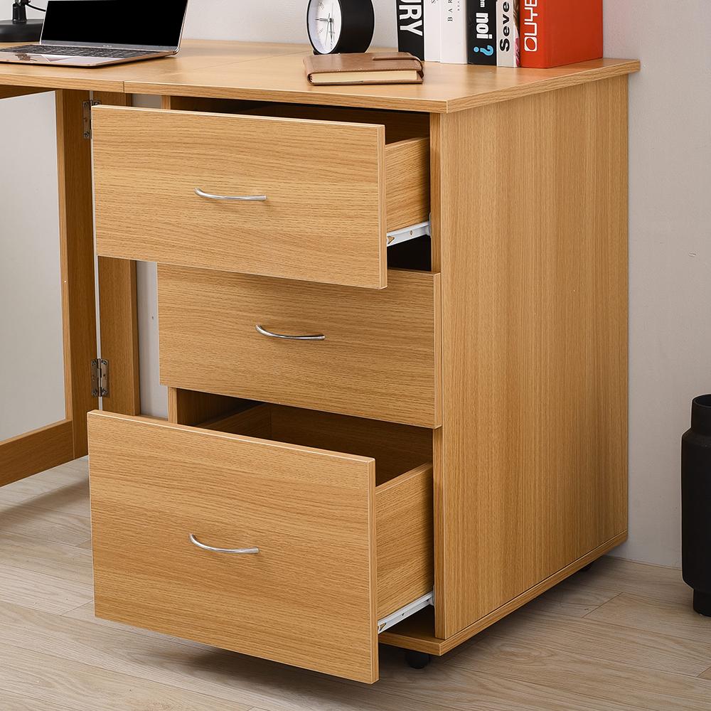 3 Drawer Drawer Drawer Folding Office Storage Filing Desk   Workstation - Oak Computer Desk 53754d