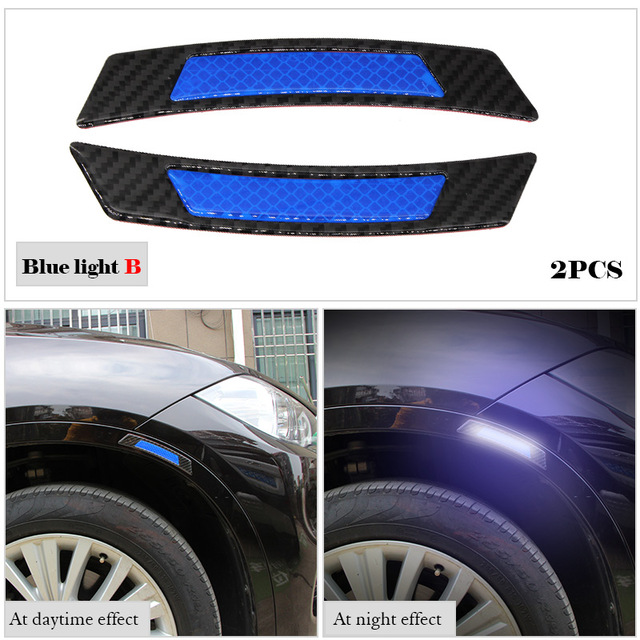2pcs White Carbon Fiber Car Wheel Eyebrow Refective Edge Protector Cover Sticker