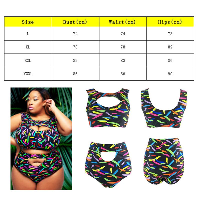 9e54e83d47baf 2 piece Plus Size Women s High Waist Floral Bikini Set Swimsuit ...