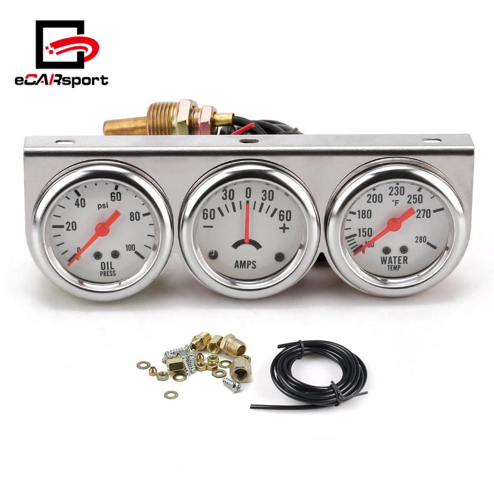 CNSPEED 2 52mm Mechanical Chrome Voltmeter Water Temperature Oil Pressure Triple Gauge Set 3in1 White Face