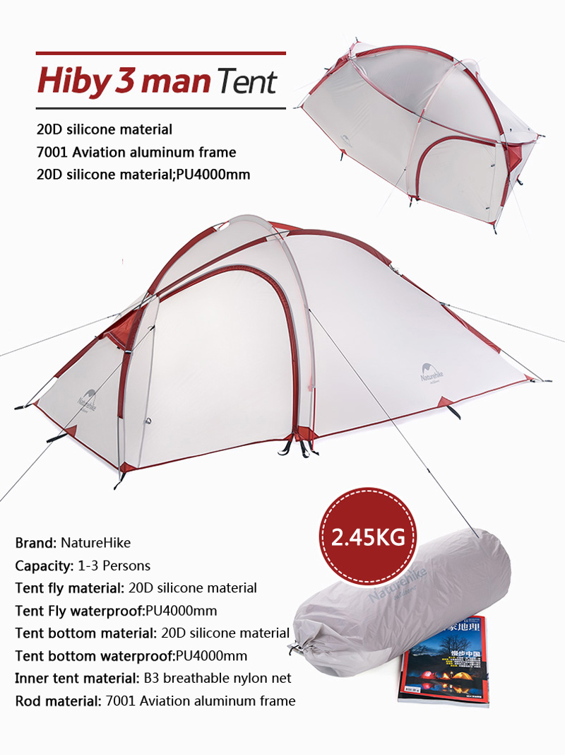 Naturehike 2 4 Person 2 Room Double Layer Backpacking