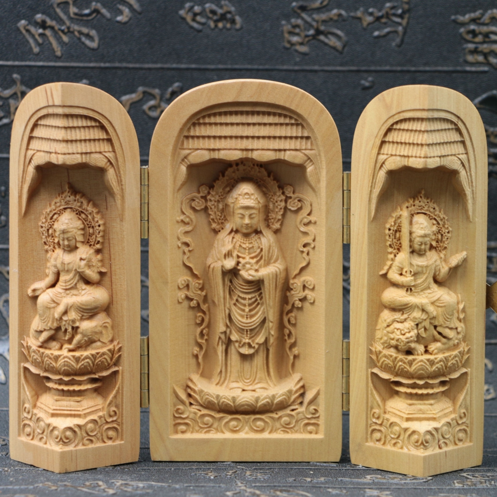 Chinese boxwood handmade carved three saints kwan yin open box sk21