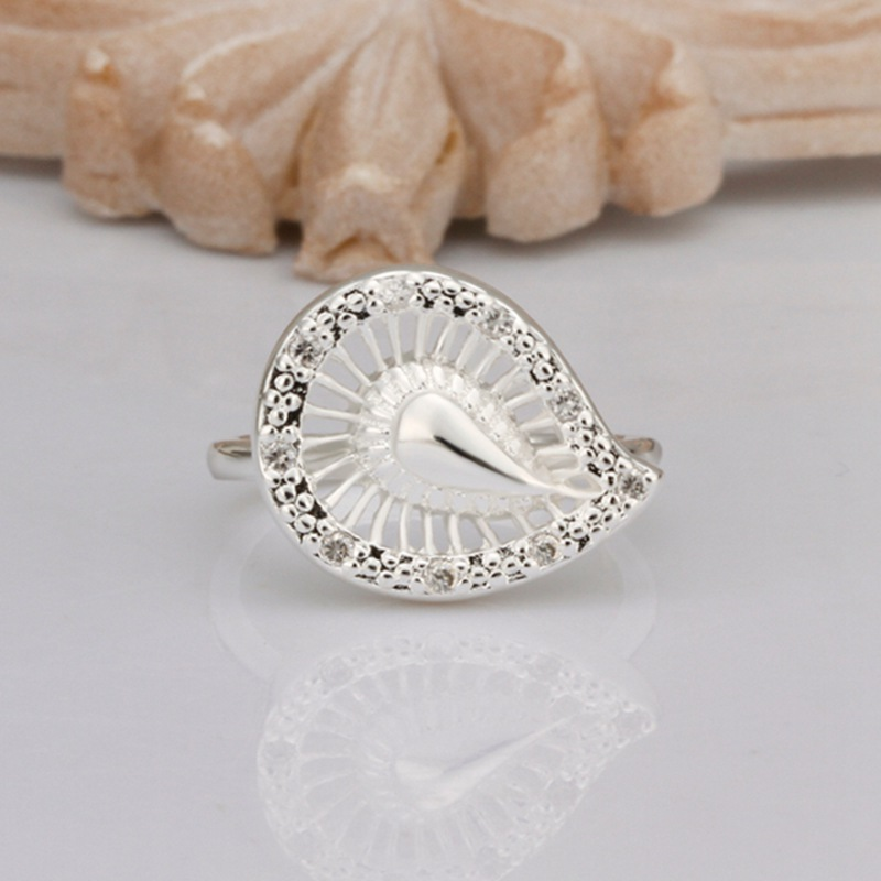 Fashion 925Sterling Solid Silver Jewelry Crystal Waterdrop Rings For Women R304