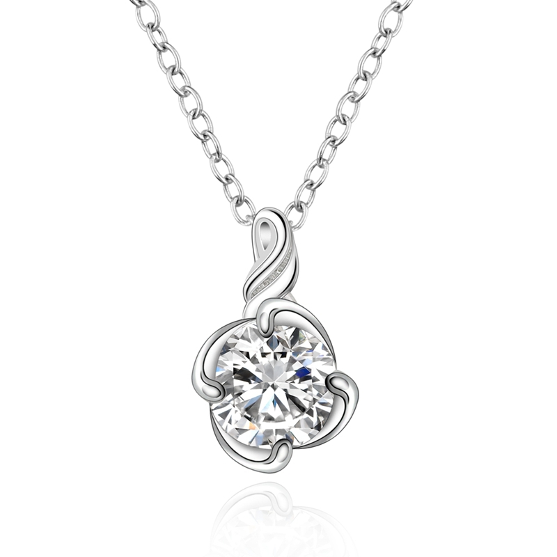 Fashion 925Sterling Solid Silver Jewelry Crystal Heart Pendants Necklace N942