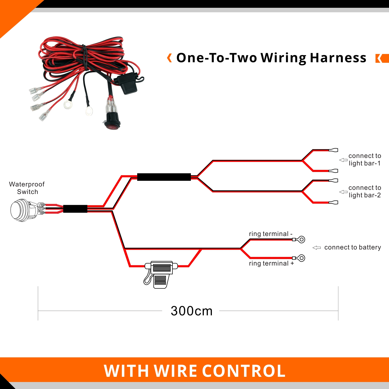Off Road Led Work Light Bar Wiring Harness One-To-Two Relay ON-OFF ...