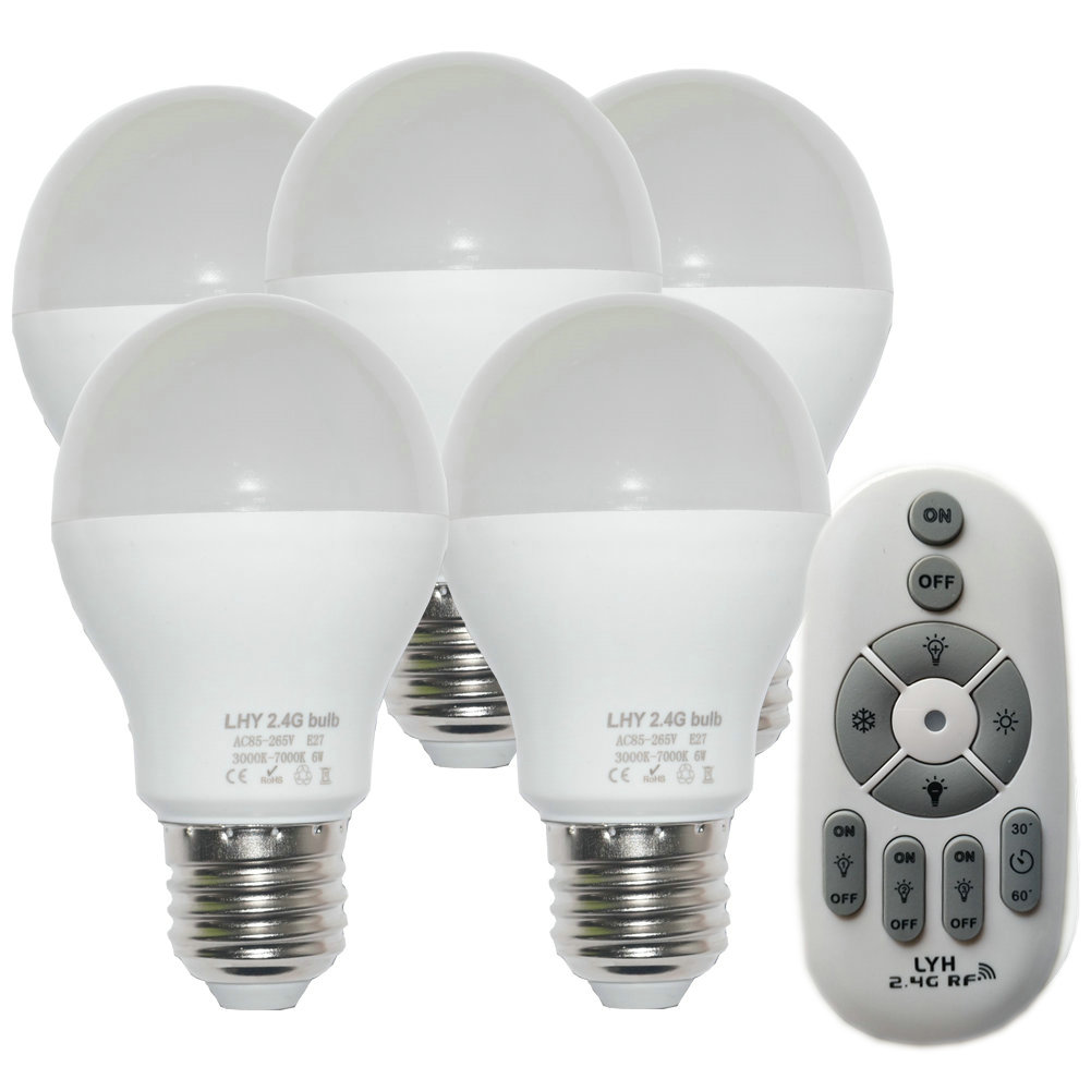 Details About 6w E27 Smart Led Light Bulbs Dimmable With 2 4ghz Wireless 3 Zone Remote Control