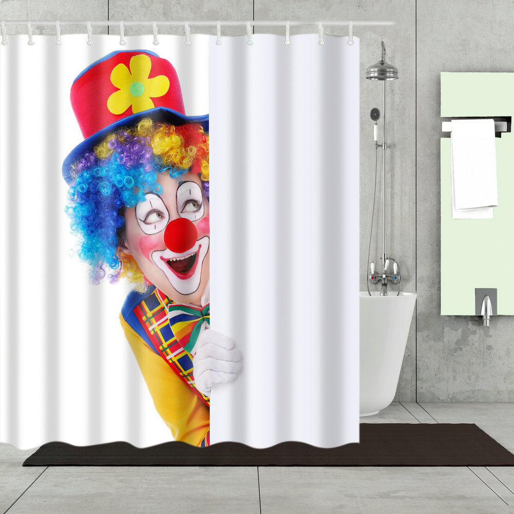 Details About Bathroom Shower Curtain Decor Set Funny Clown Hiding Printed Curtains 12 Hooks
