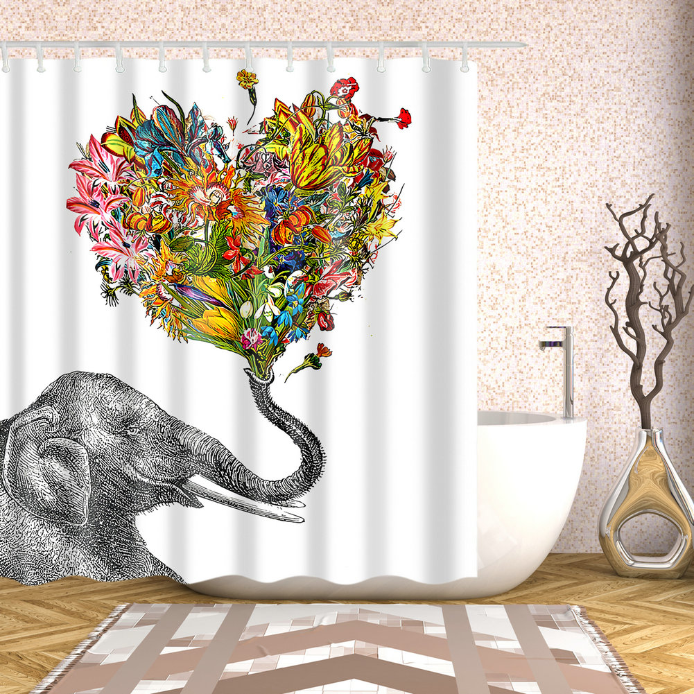 Bathroom Shower Curtain Elephant Heart Shaped Floral Design Curtains 12 Hooks