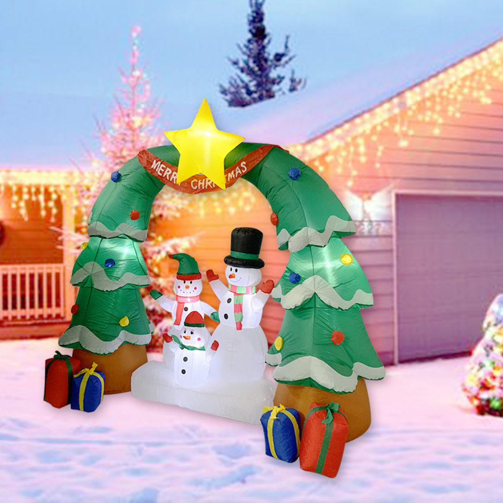 Tall Christmas Inflatable Arch Door Snow Family Daddy Mommy /& Son Celebrate Xmas