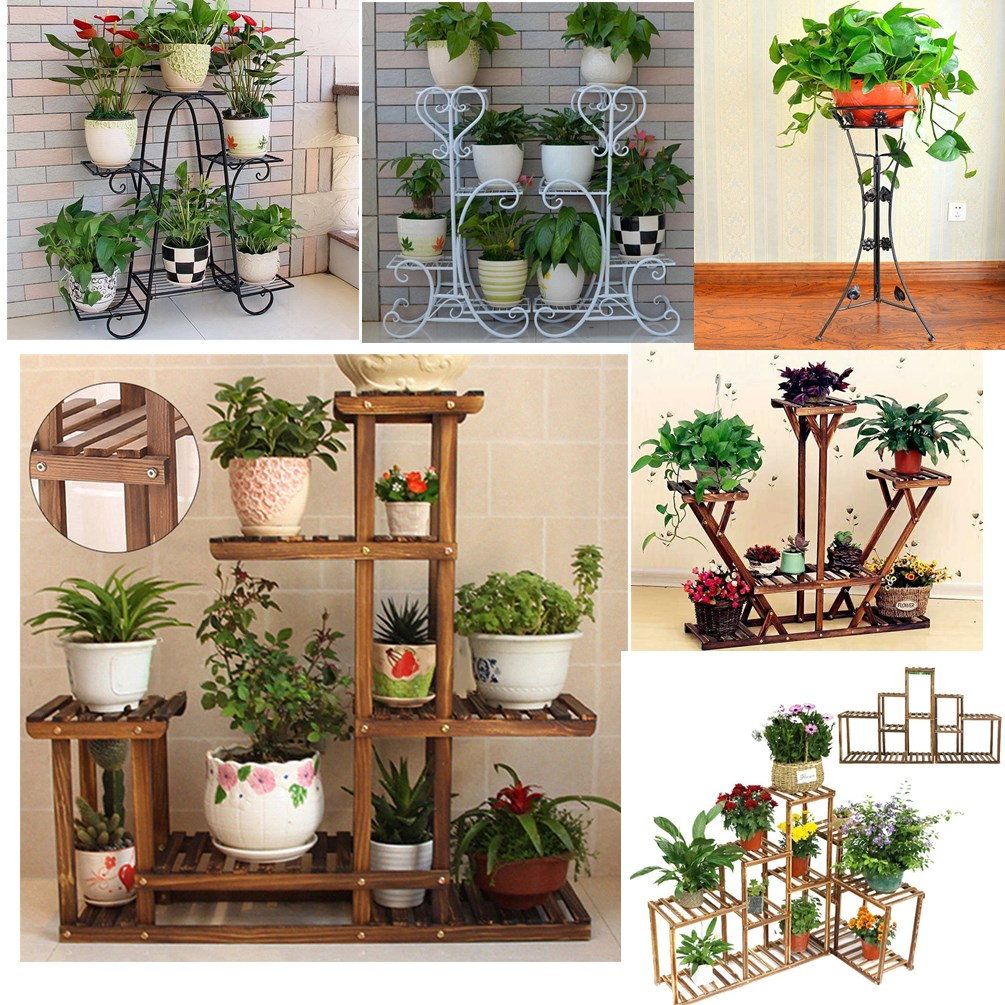 Ironwood Plant Pot Stand Shelves Indoor Outdoor Flower Rack Balcony