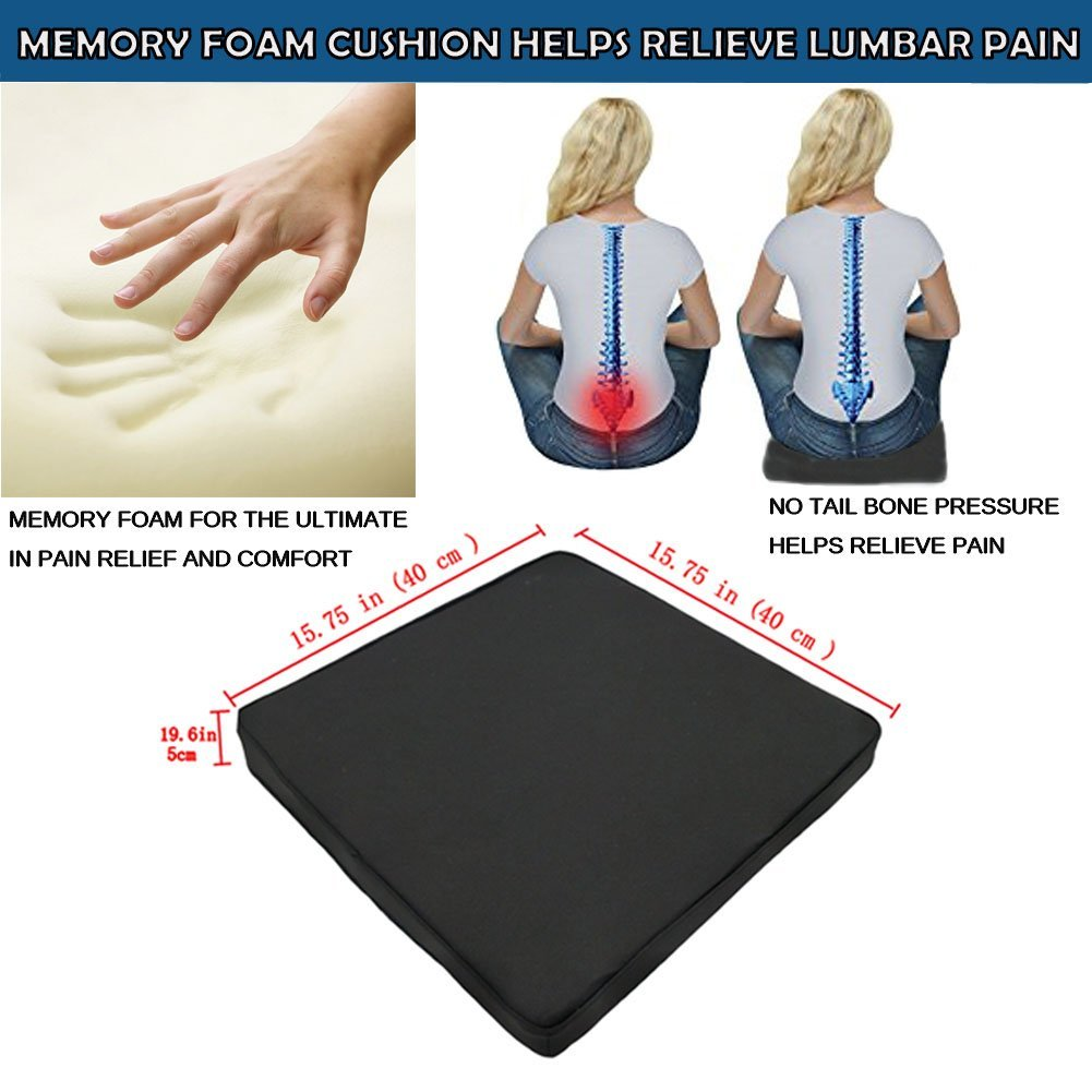 Car Seat Cushion for Lower Back Office Chair and Wheelchair Coccyx /& Sciatica Pain Relief 2PC Truck Hip Black Tailbone Big Hippo Orthopedic Seat Cushion and Lumbar Support Pillow for Car
