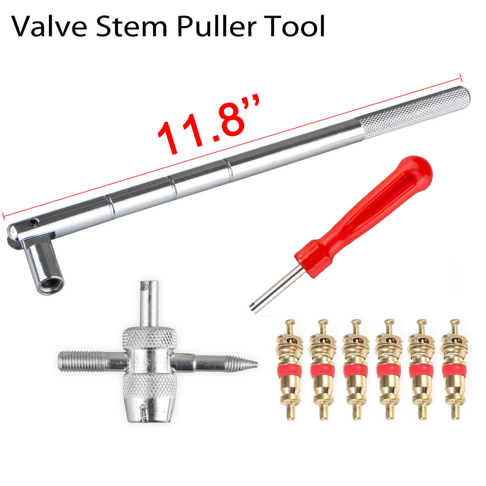 Bicycle Car Tire Plug Metal 300mm Value Stem Puller Tool Valve Stem Installer C