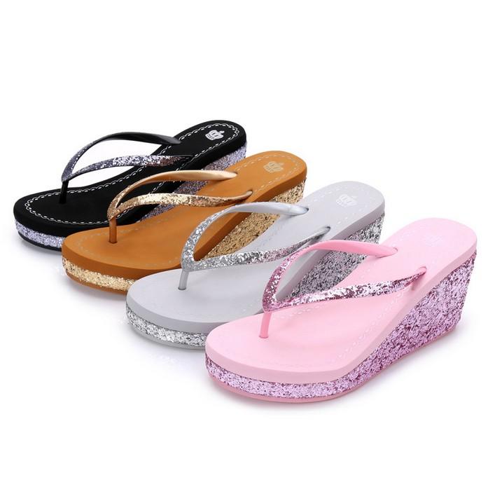 52f5c43798ad Womens Diamante Glitter High Wedge Heel Flip Flops Sandals Toe Post Beach  Shoes