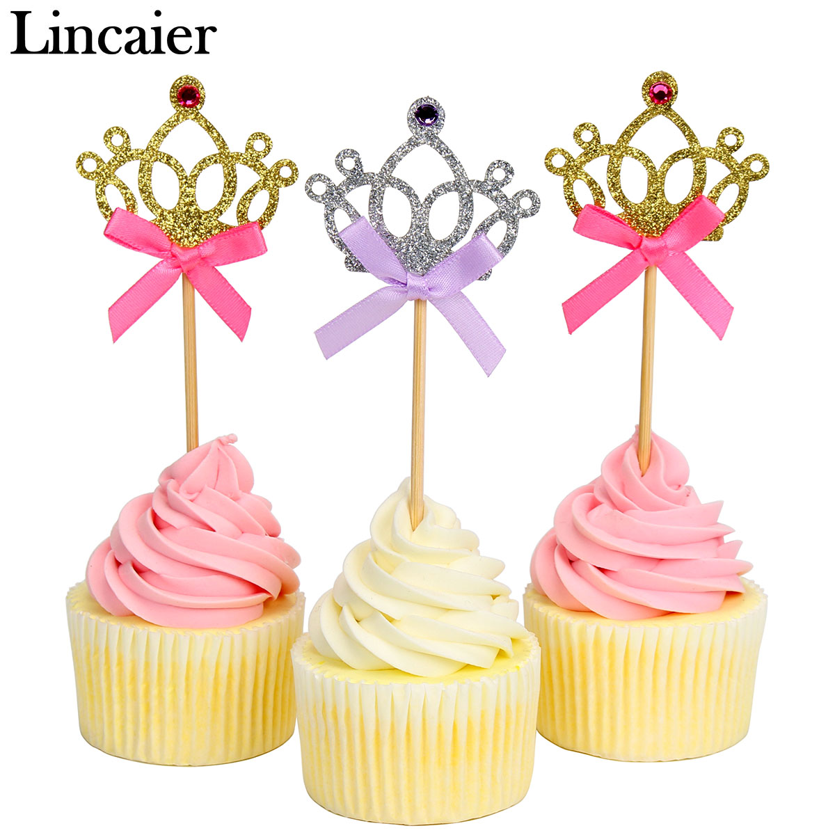 10pcs Princess Crown Cupcake Toppers Girl 1st Birthday Party