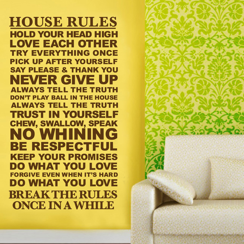 Large Family Wall Motto Quote Sticker House Rules Home Decor Words ...