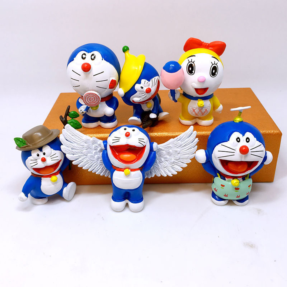 Anime Cat With Wings doraemon cat-like robot wings angel anime 6 pcs action
