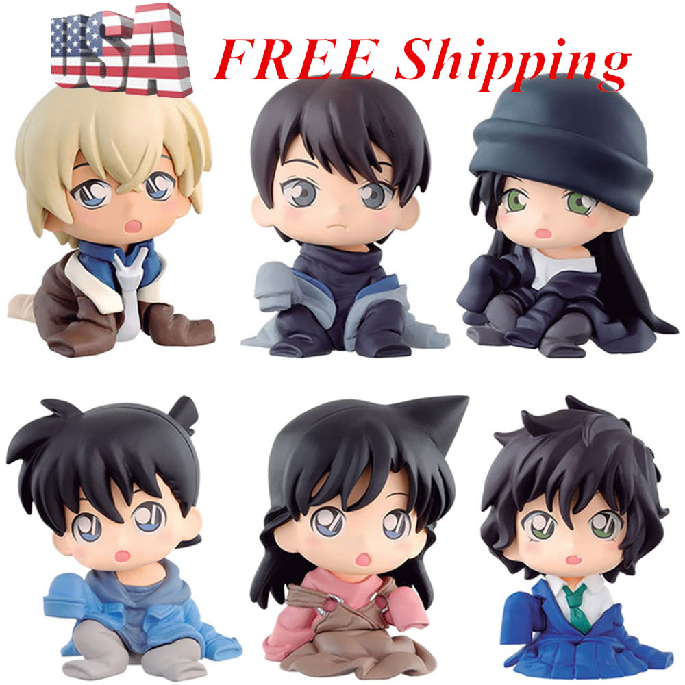 4 PCS Detective Conan Case Closed Anime Cake Topper Kids Doll Action Figure Toys