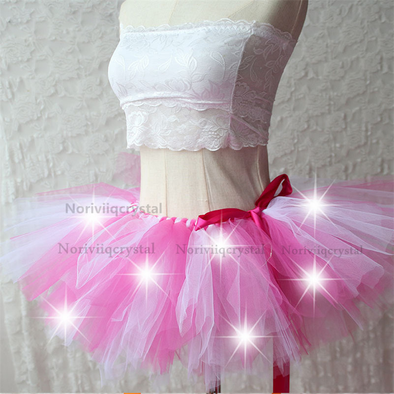 New Light Up Tutu Girls Skirt Fancy Tulle Skirts Dress Up Prom Party