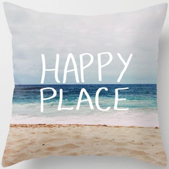 Ocean Beach Marine Animal Cotton Linen Throw Pillow