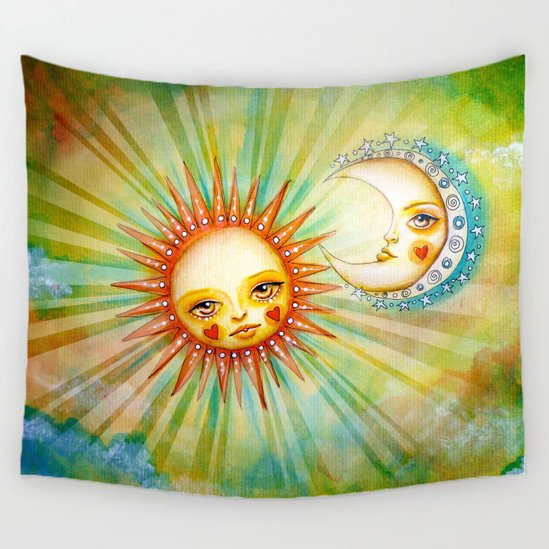 Vintage Sun and Moon Wall Hanging Tapestry Hippie Art Throw ...