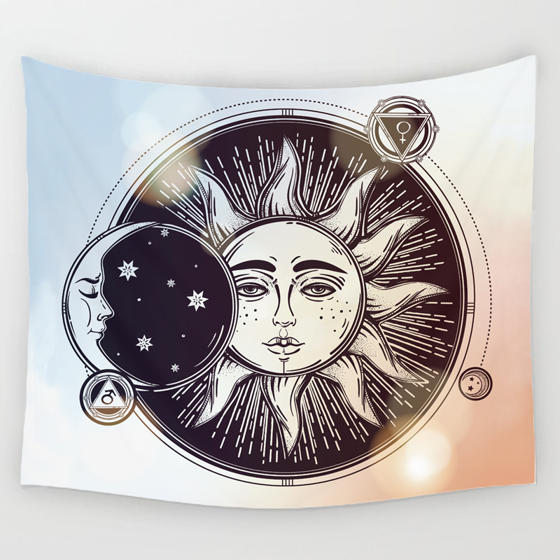 vintage sun and moon wall hanging tapestry hippie art throw bedspread home decor ebay. Black Bedroom Furniture Sets. Home Design Ideas