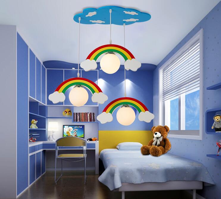 Color Rainbow Led Ceiling Light Wood Lamp Lighting Kid Child Bedroom Fairyland